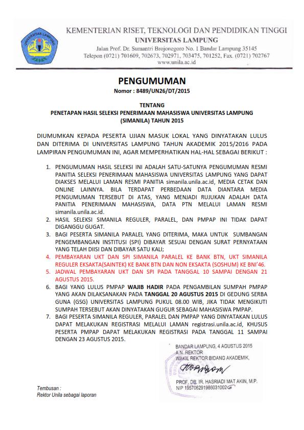 Hasil Seleksi Penerimaan Mahasiswa Universitas Lampung_001