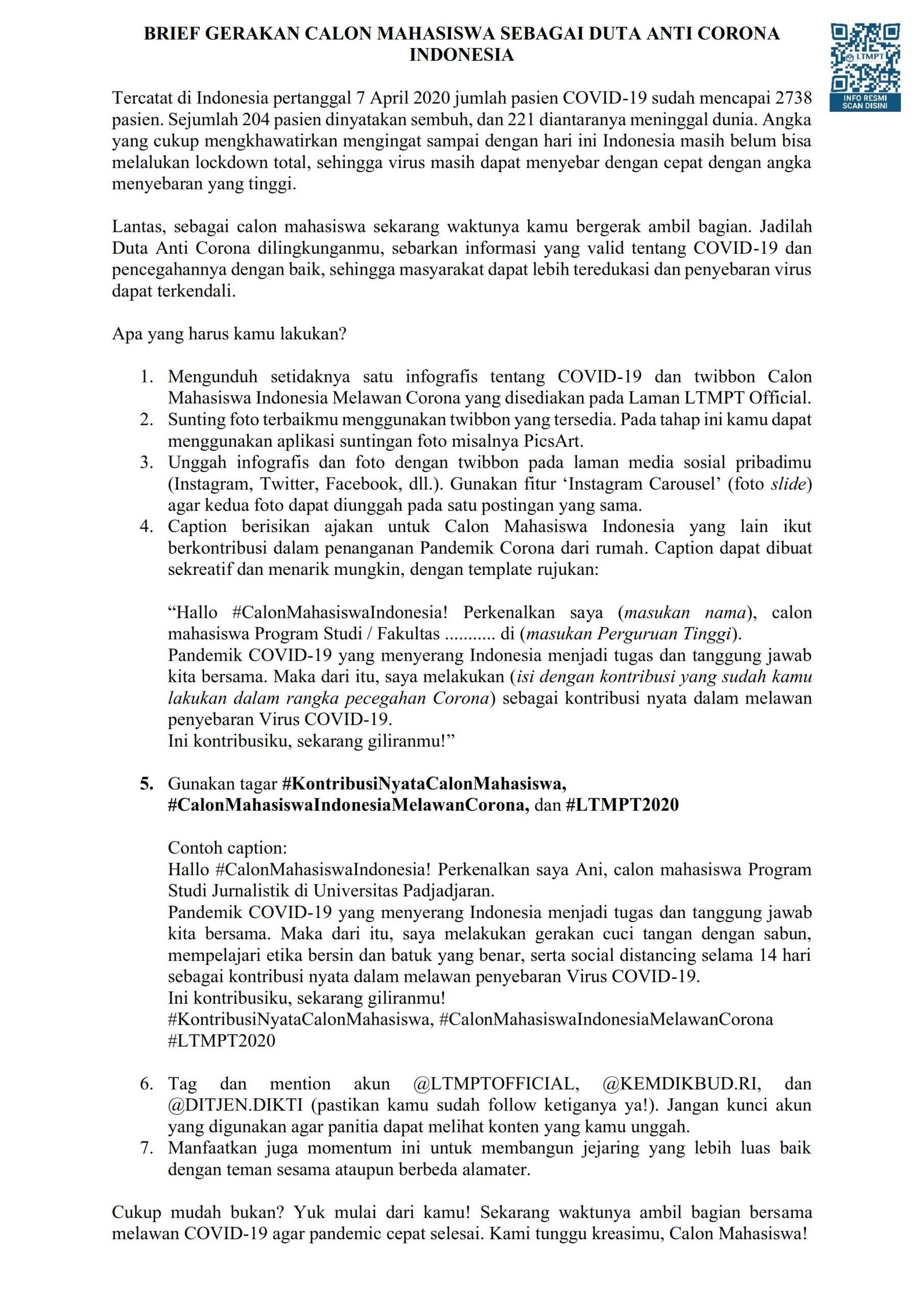 Gerakan Calon Mahasiswa Sebagai Duta Anti Corona Indonesia Bp Pmb Universitas Lampung
